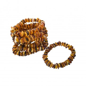 10 pcs of natural amber multicolor chips bracelets
