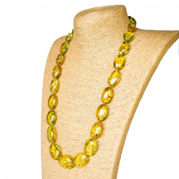 Light green color copal plums necklace #01