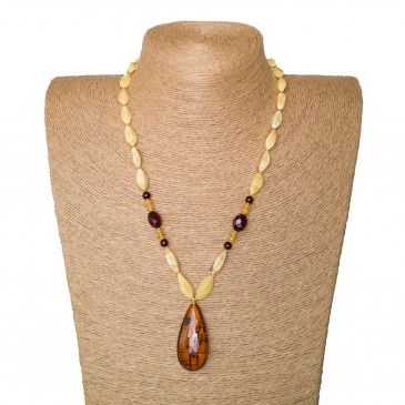 1 cognac drop x matt beads necklace