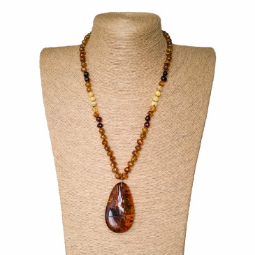 1 free form cognac drop x cognac beads necklace