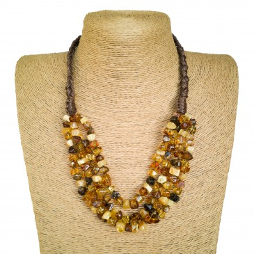 3 strings of multicolor natural amber faceted squares necklace