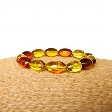 Green and cognac Copal olives bracelet #02