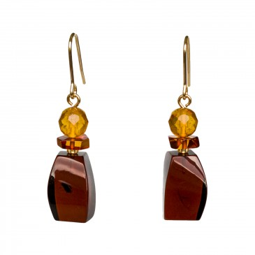 Cherry color amber earrings fragments #02
