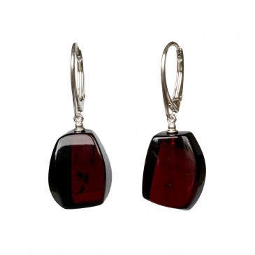 Cherry color amber earrings fragments #05