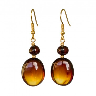 Cherry color natural amber bean earrings
