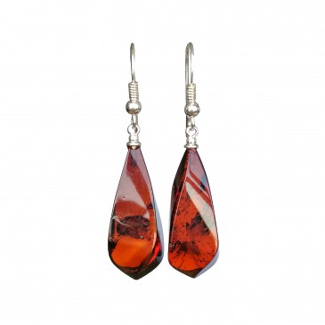 Twisted cherry color amber earrings #01