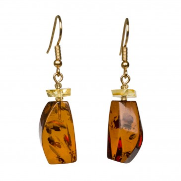 Cognac color amber earrings fragments #02