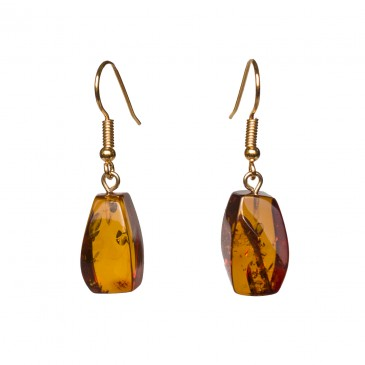 Cognac color amber earrings fragments #04