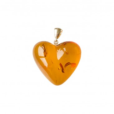 Cognac color amber heart pendant #01
