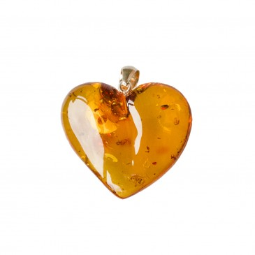 Cognac color amber heart pendant #02