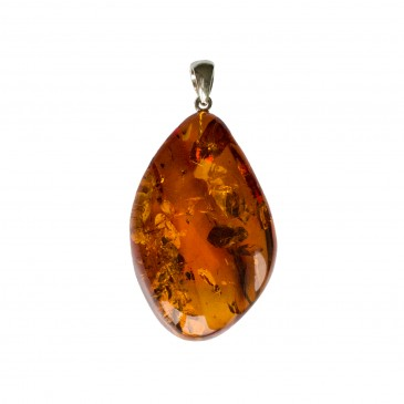 Cognac color amber pendant with a twist #06