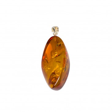 Cognac color amber pendant with a twist #09