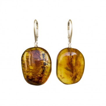 Cognac color copal earrings in natural shape #02