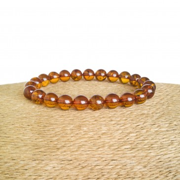Cognac color genuine amber round (8.5mm) beads bracelet