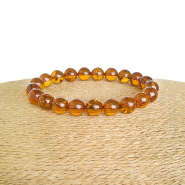 Cognac color genuine amber round (9mm) beads bracelet