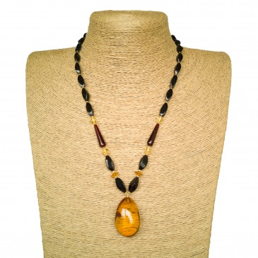 Cognac color natural amber drop pendant necklace