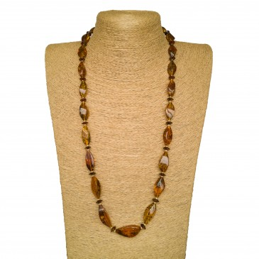 Cognac color twisted beads natural amber necklace