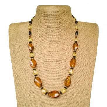 Cognac color twisted natural amber necklace x lemon beads