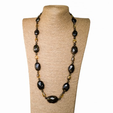 Dark green faceted olives long necklace