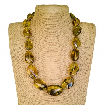Dark green twisted copal beads necklace