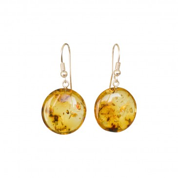 Flat round copal earrings in cognac color #04