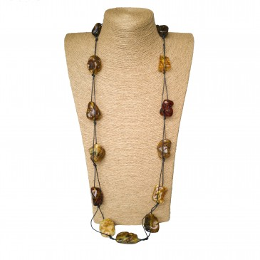 Free shape earth long necklace