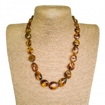 Genuine amber cognac color natural shape beans necklace
