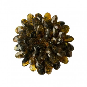 Green amber faceted flower brooch