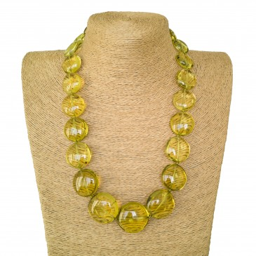 Green copal round beads necklace #03