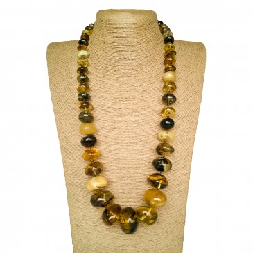 Green x matt amber nuggets necklace #01