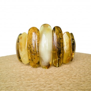 Green x matt classic natural amber bracelet