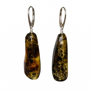 L natural amber dark drops earrings #01