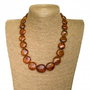 L round cognac statement necklace