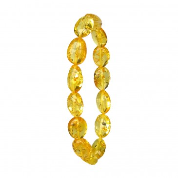 Natural Baltic amber bright clear yellow color beans bracelet