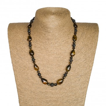 M dark green drops x frozen baroque necklace