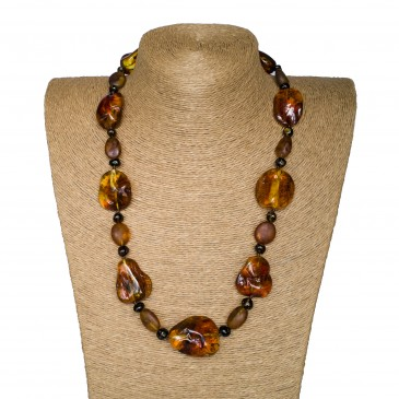 M free form cognac x frozen beads necklace