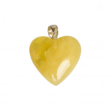 Matt color amber heart pendant #02