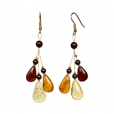 Mix color natural amber ivy earrings #04
