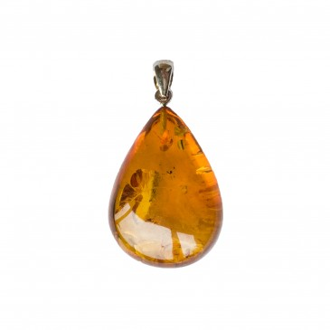 Cognac color amber pendant with a twist #05
