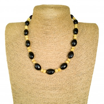 Natural amber dark cherry plums x matt baroque necklace