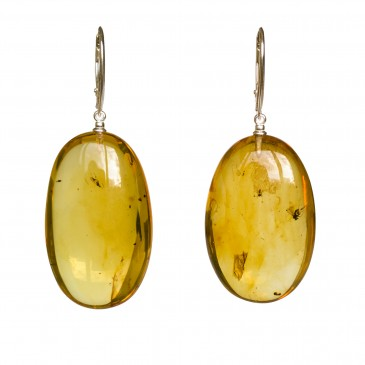 Natural amber earrings with inclussions #04