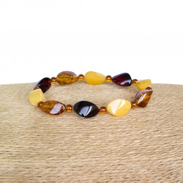 Natural amber twisted beads multicolor bracelet
