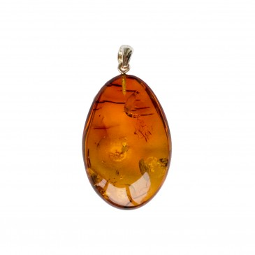 Oval shape cognac color amber pendant #02