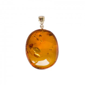 Oval shape cognac color amber pendant #05