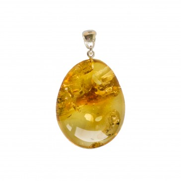 Oval shape lemon color amber pendant #01
