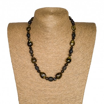 S dark green drops x frozen baroque necklace