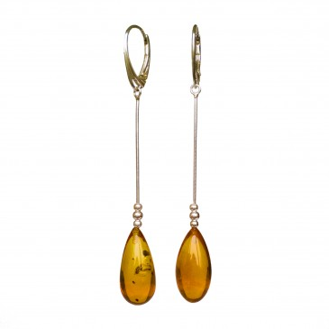SY cognac color amber drops earrings #04