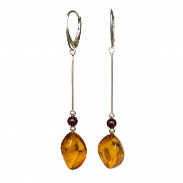 SY cognac color amber twisted earrings