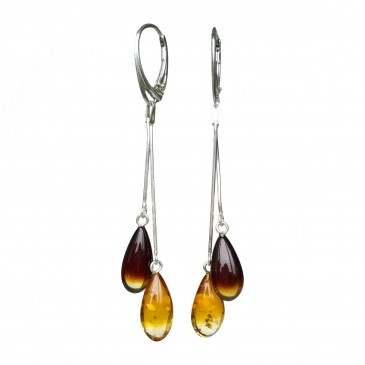 SY mix color amber drops earrings #01