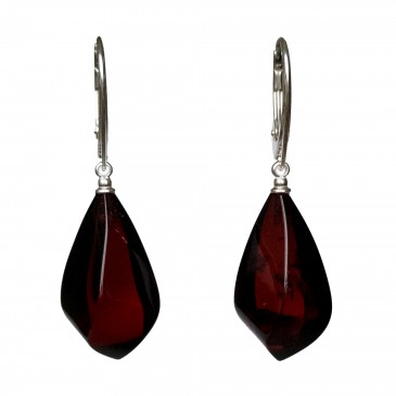 Twisted cherry color amber earrings #02